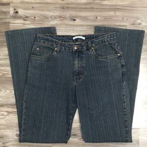 CAbi denim flare leg stripe jean size 6